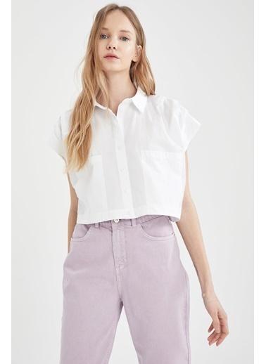 DeFacto Relax Fit Kısa Kollu Poplin Gömlek Beyaz